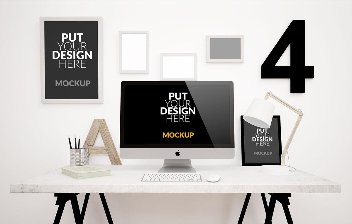 ماکاپ میز کار Desktop